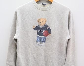 e8b93171 Vintage POLO BEAR By Ralph Lauren Gray Pullover Sweater Sweatshirt Size L