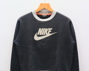 9abfe6027153 Vintage NIKE Big Logo Big Spell Sportswear Black Pullover Sweatshirt Sweater  Size M