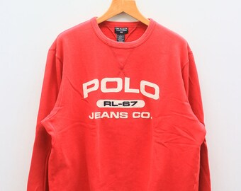 bbcb3304 Vintage POLO JEANS RL-67 By Ralph Lauren Big Spell Red Pullover Sweater  Sweatshirt Size L