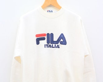 10c5bf251 Vintage FILA Italia Big Logo Big Spell Sportswear White Pullover Sweater  Sweatshirt Size L