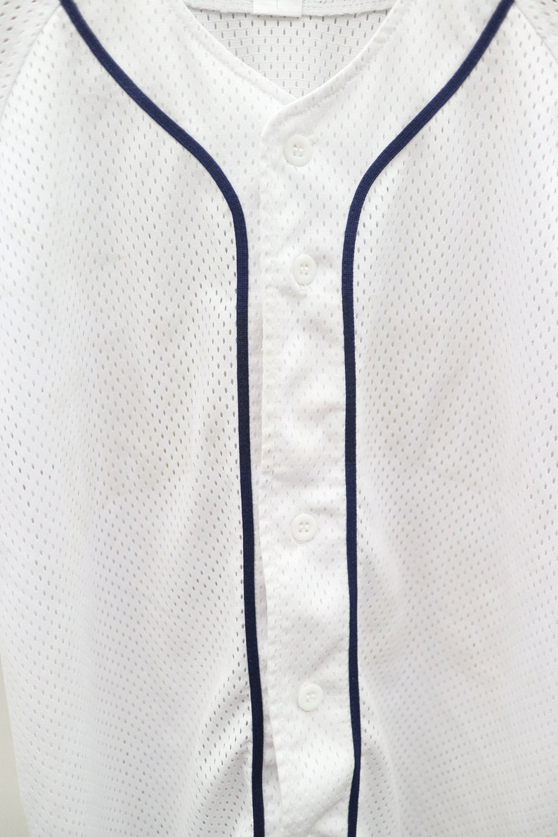 Vintage THE SPORTS AUTHORITY No Spell No Logo White Buttondown Jersey Size M