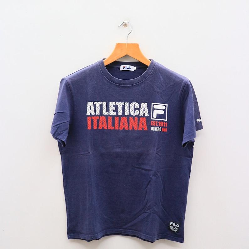 Vintage FILA Italiana Numero Uno Sportswear Blue Tee T Shirt Size L