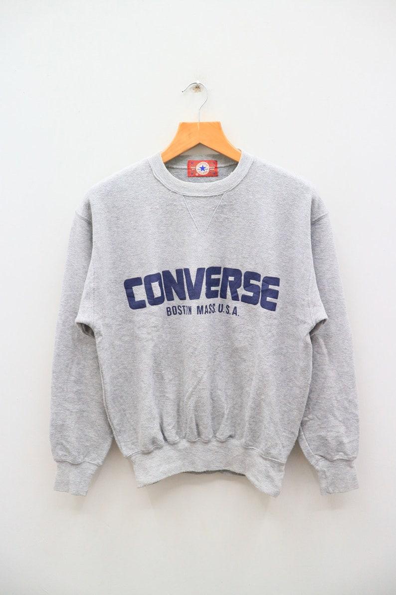 951c0fa68576e Vintage CONVERSE All Star Boston Mass U.S.A Big Logo Streetwear Gray  Pullover Sweatshirt Sweater Size M