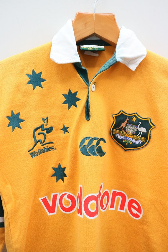 Vintage CANTERBURY Of New Zealand Vodafone Sportswear Orange Green Rugby Polo Collared Shirt Size XS