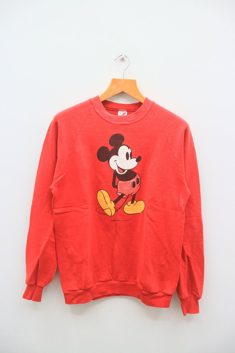 Vintage MICKEY MOUSE Disney Cartoon Animation Red Sweatshirt Sweater Size M 9j6Gam