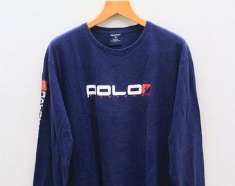 Vintage POLO SPORTS Ralph Lauren Designer Blue Long Sleeve Tee T Shirt Size L