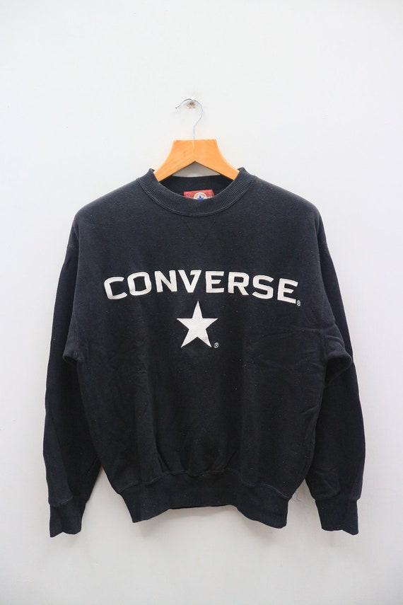 aa5751516c190 Vintage CONVERSE All Star Big Spell Big Logo Streetswear Black Pullover  Sweater Sweatshirt Size M