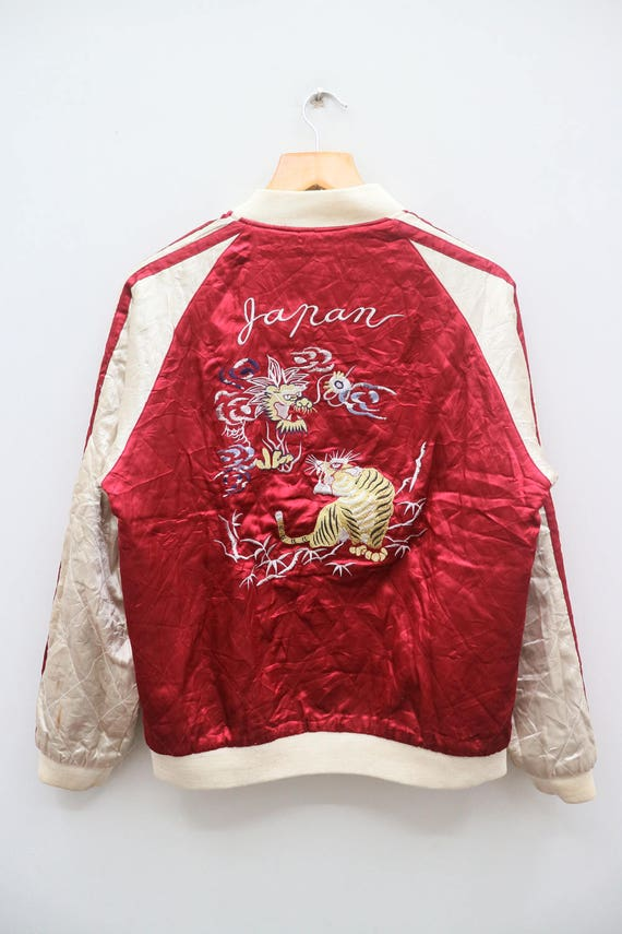 Riversible Bomber Double Souvenir Tiger Japanese Punk SUKAJAN Fighting Dragon Corduroy Coat Jacket Embroidery Vintage 5qwvftxTz