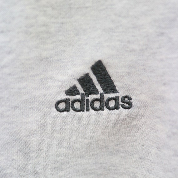 Vintage ADIDAS Three Lines Small Logo Small Spell Sportswear Gray Sweater Sweatshirt Size S