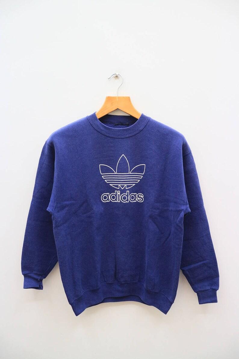 Vintage ADIDAS drei Streifen großes Logo großen Zauber Sportswear Stickerei Pullover Sweatshirt Pullover