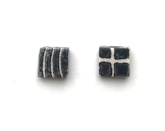 tiny TILES post earrings black and white handprinted small grid and wavy lines
