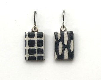 tiny TILES earrings black and white handprinted small grid of squares and oval pattern