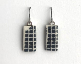 tiny TILES earrings black and white handprinted with a tiny back grid