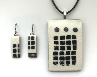 Pendant & Earrings Set handprinted porcelain with bold black grid and 3 dots on white background