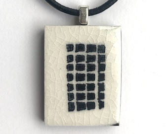 tiny TILES Black and white ceramic porcelain pendant handprinted with a grid of tiny black sqaures