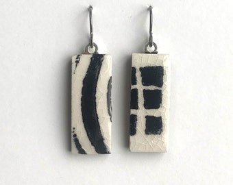 Ceramic Earrings handprinted with bold curved stripes and squares