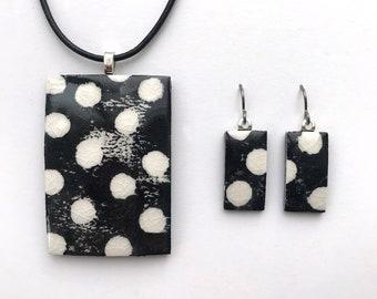 Pendant & Earrings Set handprinted porcelain with white polka dots on balck background