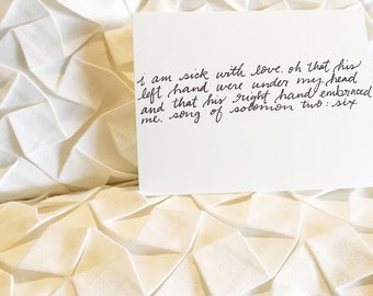 To my Groom on our wedding day Card, Christian Wedding Card, Hand Lettered Wedding Card, Love Note to Future Husband Card, Song of Songs