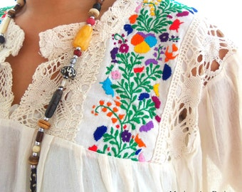 35cafa6158bce2 Cotton gauze blouse, Embroidered Mexican Blouse Yvory, Embroidered mexican  tunic, Crochet, Colorful Floral Embroidery, tassel, bohemian Top