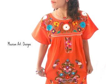 47eb3745fda Orange Mexican Embroidered Dress