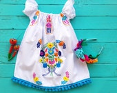 Mexican Embroidered Fiesta Baby Dress, Baby Dress, Girls Mexican Dress ,Bohemian Baby Dress, Mexican Dress Girls