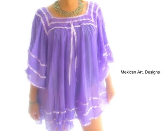 096684038a3 Lilac shirt, Mexican Cotton Butterfly Top, 1970s, Cotton Gauze Top, Cotton  and Crochet Blouse , shirt with Angel Sleeves, butterfly sleeves
