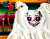 Mexican Embroidered Fiesta Girls Dress size 4-5 Years Old, Boho Mexican Dress, Mexican Dress for Girls, Cotton Dress, Bohemian Dress