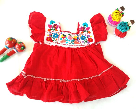 Vestido Rojo Para Niña Vestido De Cumpleaños Vestido Rojo Vestido Bordado Vestido Mexicano Ropa Ropa Para Niñas Ropa Bordada