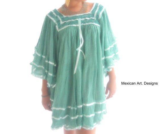4e5fa782ddc Tangerine Blouse ooak Mexican crochet blouse Angel Sleeves   Etsy