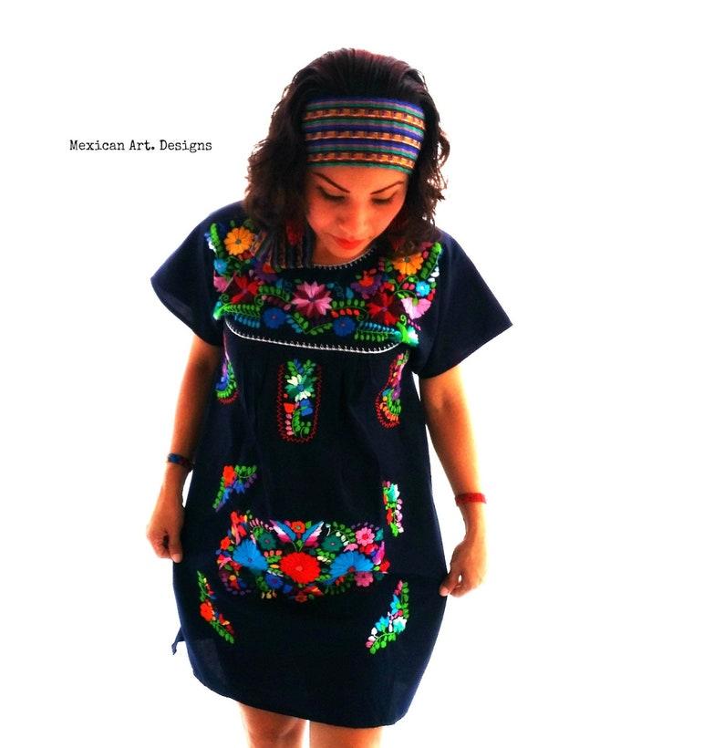 be1530a726 Vestido Bordado Mexicano vestido de fiesta mexicano vestido