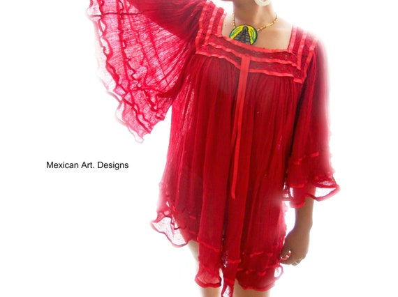 bell soft gauze blouse Fire SHIPPING crochet Hippie Summer FREE Mexican Sleeves EnOX1q