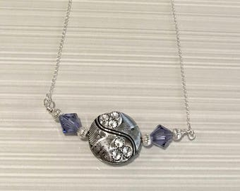 Sterling Silver, Swarovski Crystal and Purple Acrylic Bead Necklace - FREE SHIPPING