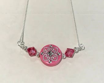 Sterling Silver, Swarovski Crystal and Pink Acrylic Bead Necklace - FREE SHIPPING