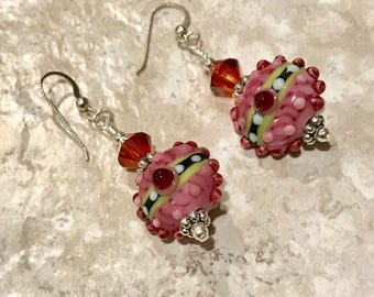 Sterling Silver, Swarovski Crystal, and Lampwork Bead Earrings - FREE SHIPPING