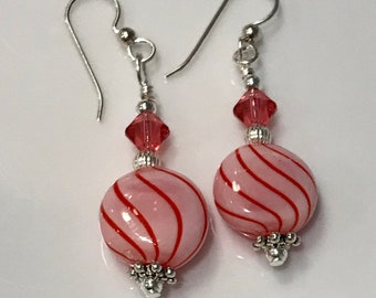 Sterling Silver, Swarovski Crystal and Glass Lampwork Bead - FREE SHIPPING