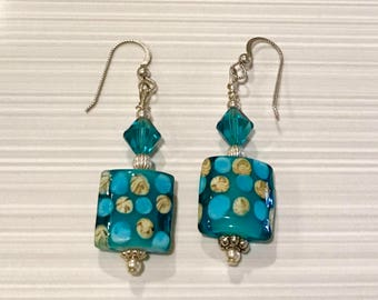 Sterling Silver, Swarovski Crystal and Lampwork Earrings - FREE SHIPPING