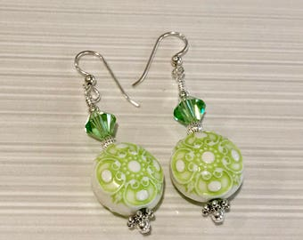 Sterling Silver, Swarovski Crystal and Acrylic Bead Earrings - FREE SHIPPING
