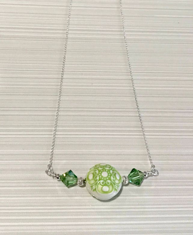 Sterling Silver Swarovski Crystal and Acrylic Bead Necklace  86fe3010b745