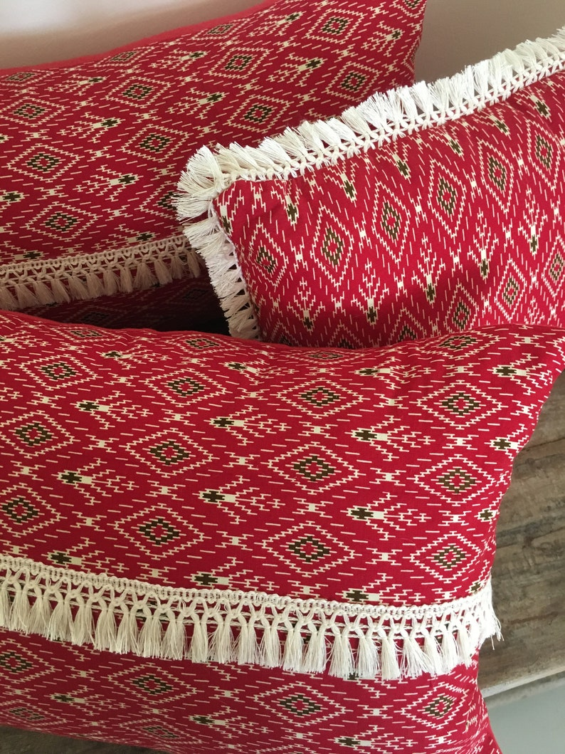 Fringed Pillow Tribal Fabric Macrame Trim Red Navajo Pillow Tribal Chic Aztec Pillow Red and Cream Naja Hill Tribe Fabric Cushion