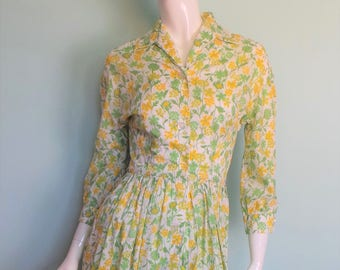 70s Liberty Buttercup Summer Dress, Bright Yellow Meadow Shirt Dress, Liberty of London Bright Floral Shirt Waister, 33in Bust, X-Small