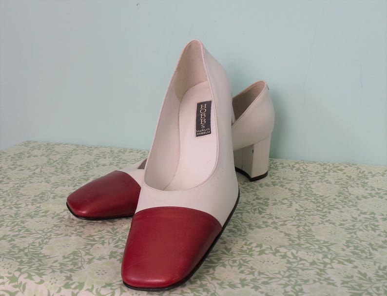 b81f8a6e34ca 1980s White and Red Block Heel Court Shoes by Marilyn Anselm
