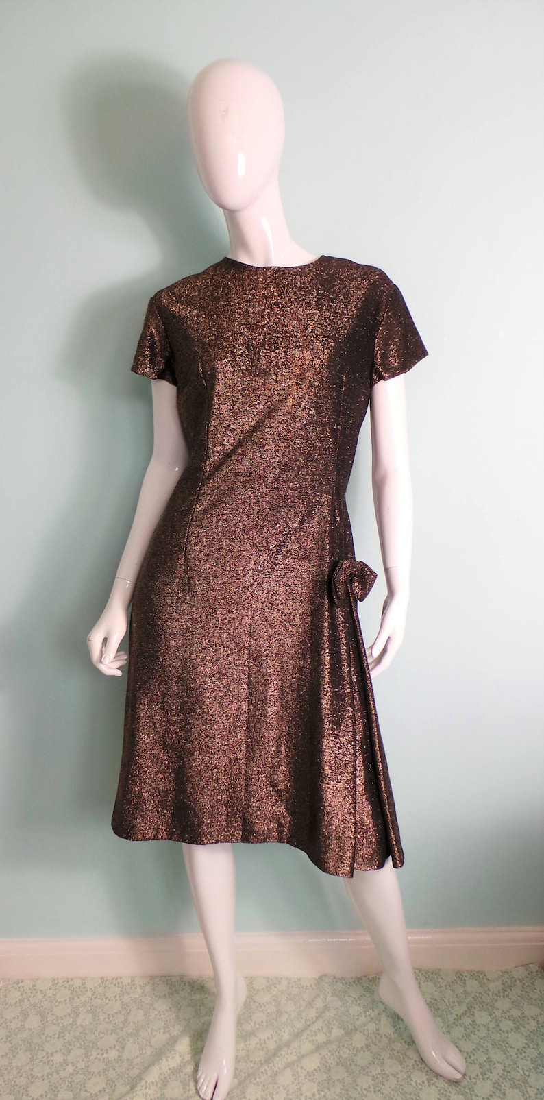 66b1f1e6532 1960s Gold Lame Party Dress with Bow Copper Sparkle Short