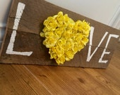 Hand painted love pallet sign rustic home decor country decor anniversary gift weathered wood hand painted sign