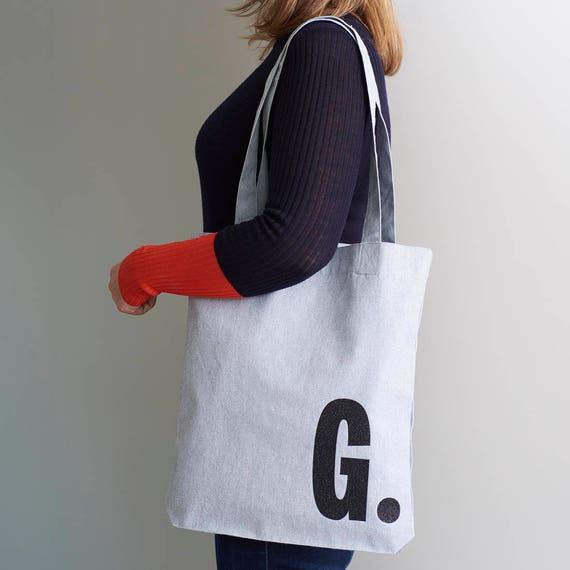 tote bag cotton tote initial bag shopping bag etsy