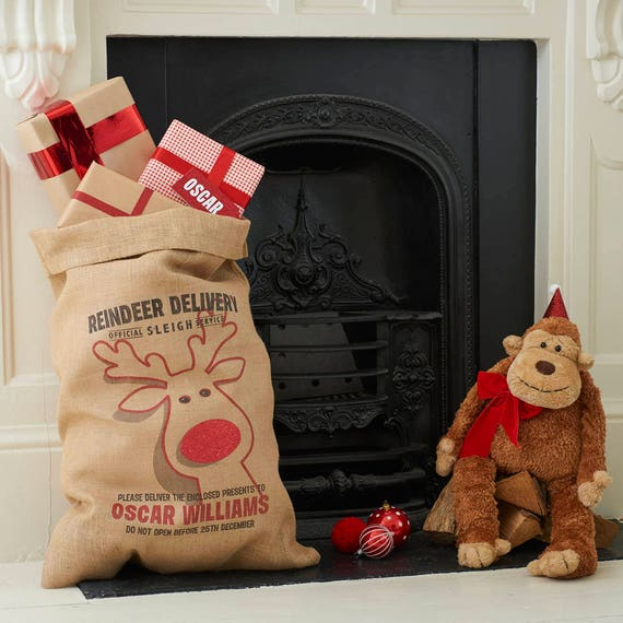 Personalized Christmas Stocking Letterpre Christmas sack Personalised Stocking Christmas Stocking Jute Stocking Hessian Stocking