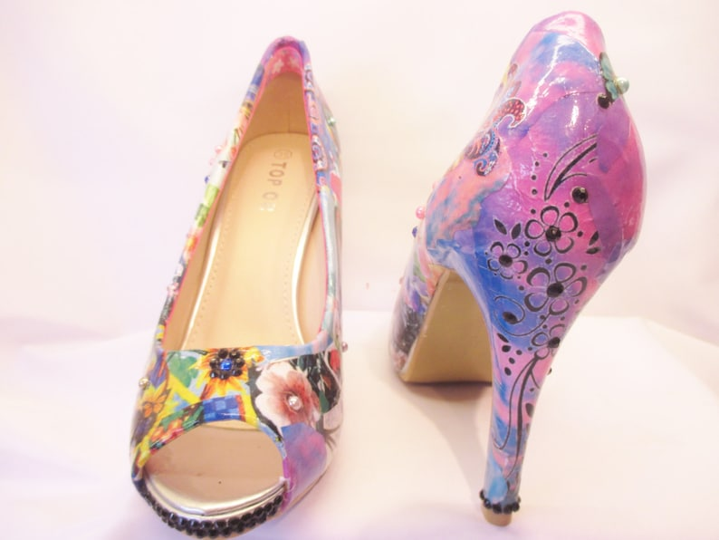 164800241 Summer Shoes Decoupage Crystal gems Womens Heels