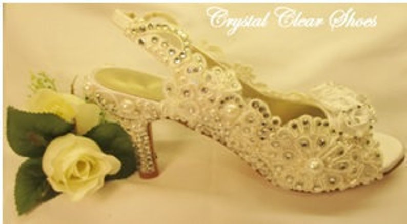 6489af5f63ab Lace Covered Shoes Pearl   Crystal Bridal Shoe.Wedding