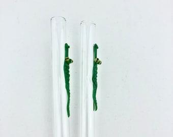 THIN Alligator GLASS STRAW - Reusable Straws | Skinny Straws | Reusable Yetti Straw |Tumbler Straws | Thin Straws | Alligator Straws