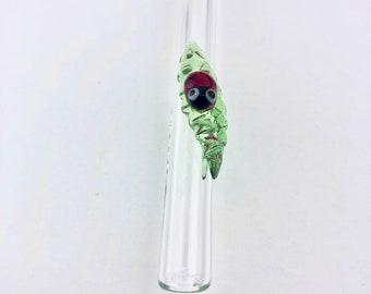 THIN Ladybug on Leaf GLASS STRAW - Reusable Straws | Skinny Straws | Reusable Yetti Straw |Tumbler Straws | Thin Straws | Ladybug Straws