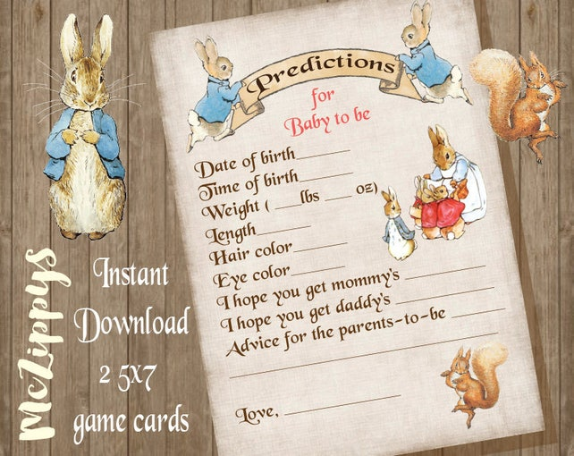 Peter Rabbit Baby Predictions Instant Download Baby Shower Etsy